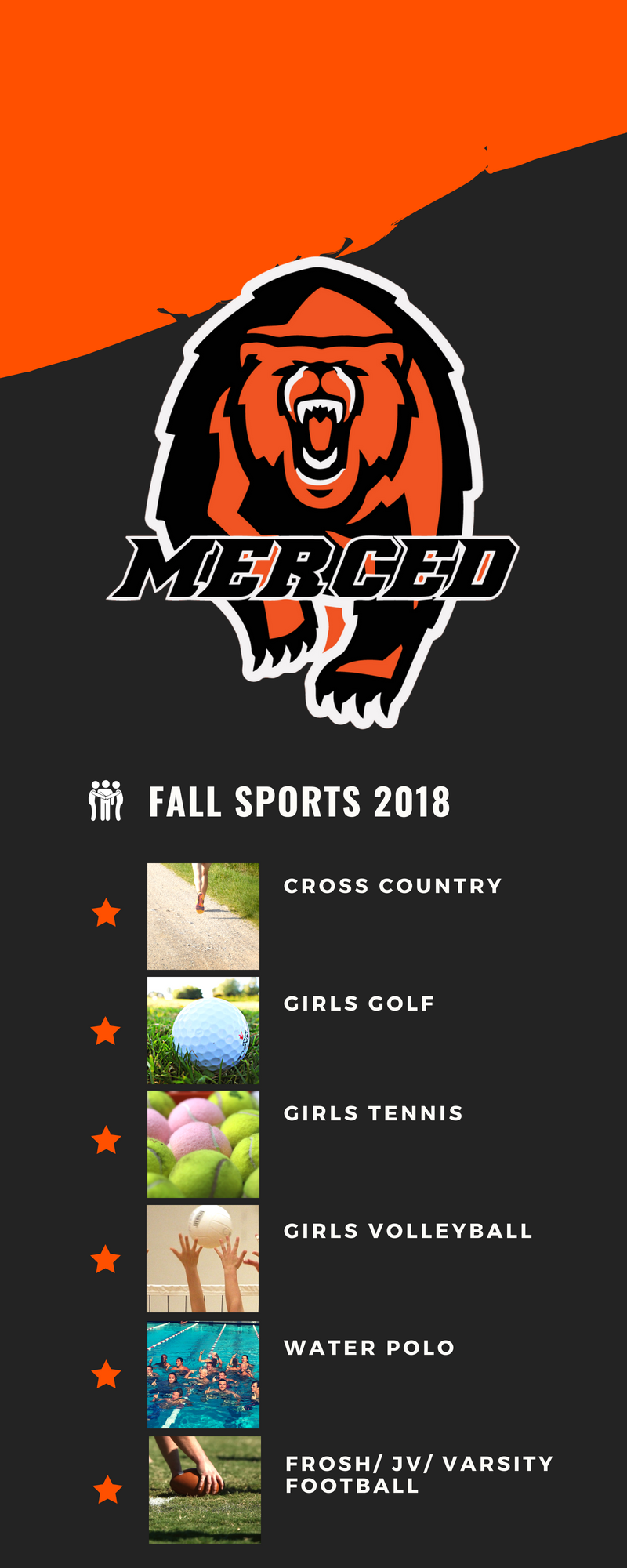Fall Sports: XC, Girls Golf, Girls Tennis, Girls, Volleyball, Water Polo, and Football.